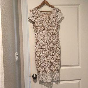 Lulu's White Lace Bodycon Dress Short Sleeve